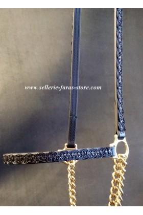 black shiiny arabian horse showhalter